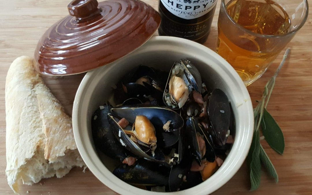 Mussels with Sheppys Cider and bacon
