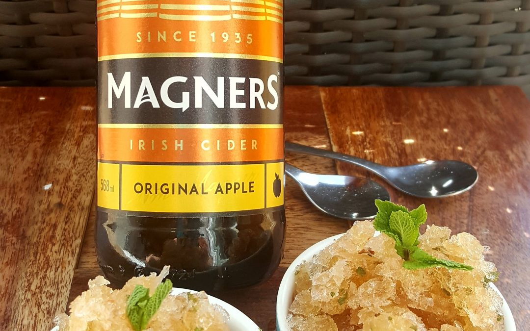 Magners granita with mint and pink peppercorns
